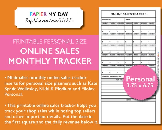 personal monthly online sales tracker printable etsy monthly etsy