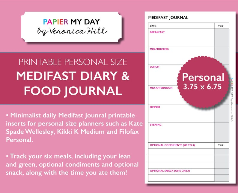 photo regarding Printable Food Journal Pdf named Medifast Magazine PDF - Medifast Food items Diary - Printable food stuff diary for Filofax Particular person, Kikki K Medium planners