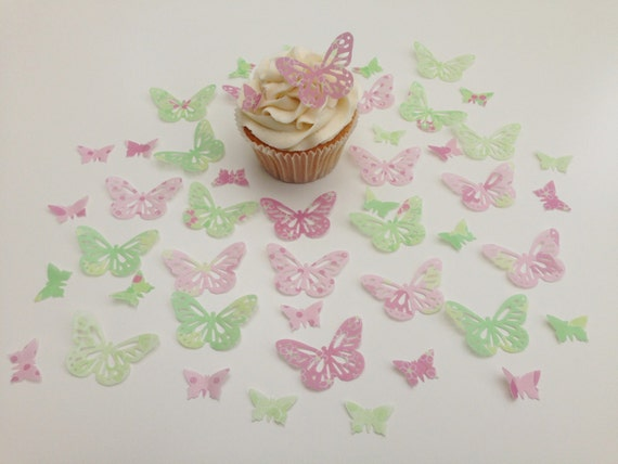 12 Precortada Doble Blanco//Lila Papel De Oblea Comestible Mariposas tarta//cupcake toppers