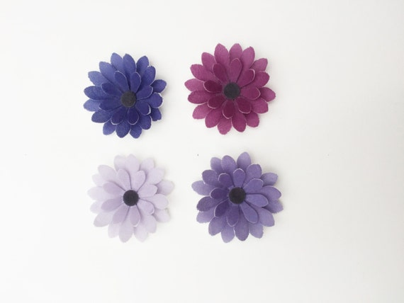 14 Edible Shades of Purple 3D Flowers Pre Cut Wafer Cupcake Toppers