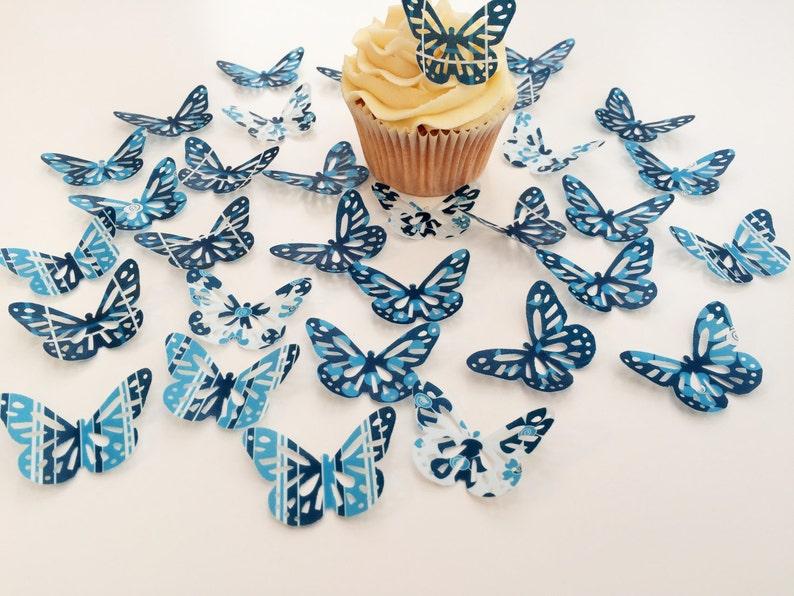 Home & Garden 32 Comestible Tonos De Azul Mariposas Precortado Oblea Adornos De Cupcake Other Baking Accessories