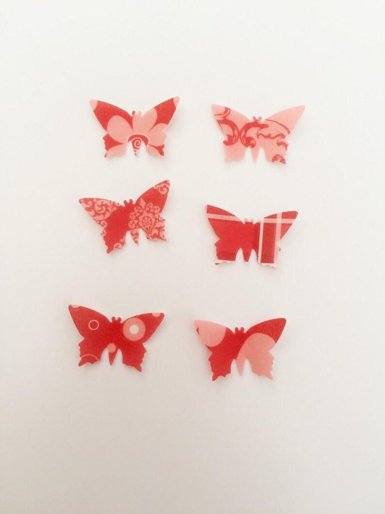 48 Edible Poppy Heaven Heart Detail Butterfly Wafer Cupcake Toppers Precut