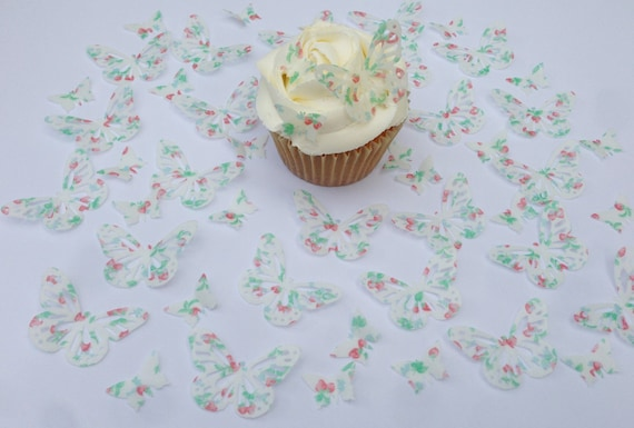 24 Edible Double Dusky Vintage Pink Butterfly Wafer Cupcake Toppers Precut
