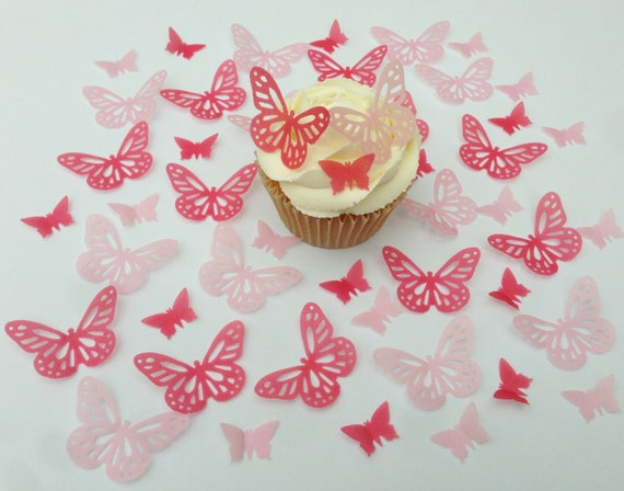 16 PRECUT  Ruby Red Edible wafer paper Butterflies cake//cupcake toppers