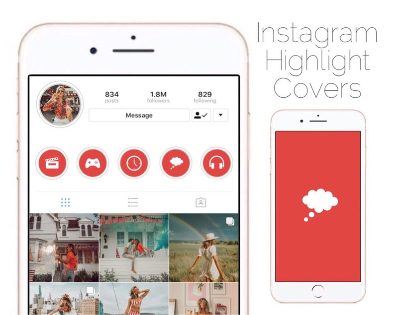 SALE! 70% OFF   Red Instagram Highlight Cover Icon Template Bundle of 50 Websites Bloggers Influencers Social Media