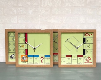 """Upcycled Monopoly Wall Clocks using Original Classic Monopoly Board Game, Quirky Retro Framed 10"""" Clocks, Birthday Present / New Home Gifts"""