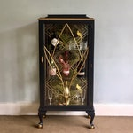 Custom Order for Lisa - Upcycled Vintage Glass Drinks Cabinet, Hand Painted in Ash Dark Grey & Gold, Decoupaged Tropical Cocktail Cabinet