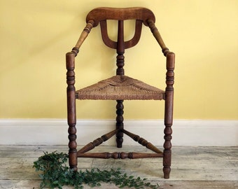 Antique Turner's Chair, Woven Rush Seat, 19th Century Triangular Chair, Rustic Turned Harp Seating