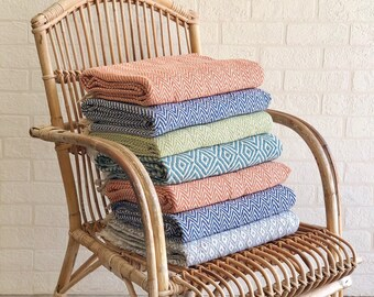Recycled Cotton Throws, Gorgeous Hand Loomed Living Room, Bedroom, Picnic Blanket, Bright Colourful Chevron Blue, Green, Orange & Grey Throw