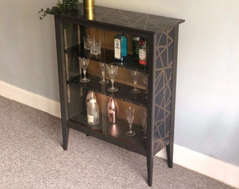 Drinks Gin Cabinet, Hand Painted Vintage Glass Display Cabinet, Upcycled in Graphite & Gold Geometric Decoupage, Storage Unit with Shelves