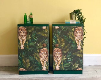 Pair of Bedside Cabinets, Hand Painted in Dark Green, Upcycled, Decoupaged in Tiger Jungle Tropical Wallpaper, Two Bedroom Storage Cupboards