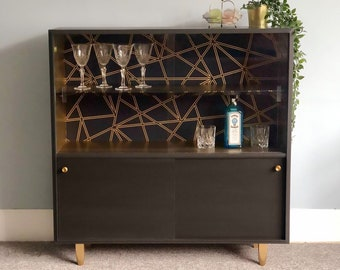 Drinks Gin Cabinet, Hand Painted in Graphite & Gold, Upcycled Mid Century, Geometric Decoupaged Glass Display, Storage Cupboard with Shelves