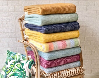 Pure New Wool Blanket, Cosy Welsh Tweedmill Throws, Gorgeous Weaved Yellow, Blue, Pink Blankets, Bright Colourful Living Room, Bedroom Decor