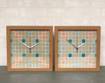 """Upcycled Scrabble Wall Clocks using Original Classic Vintage Scrabble Board Game, Quirky New Home / Christmas Gifts, Framed 10"""" Clocks"""