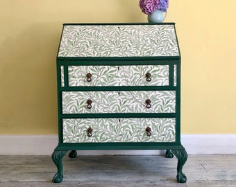 Vintage Bureau, William Morris, Willow Boughs Wallpaper Decoupage, Hand Painted Dark Green, Upcycled Art Nouveau Writing Desk with Storage