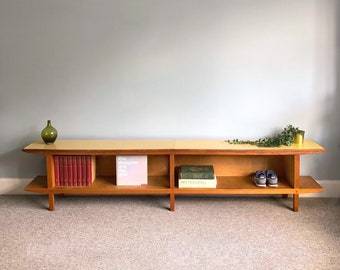 Open Storage Unit, Mid Century Extra Long Bookcase, 8ft Wooden Display Sideboard, Formica Hall Bench Shoe Storage, Unique Handmade Furniture