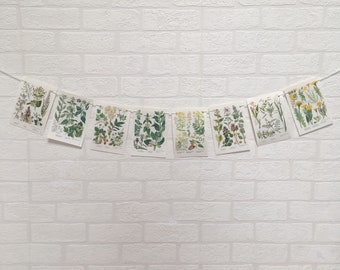 Vintage 1960's Mini Book Pages Bunting, Wild Flowers, Botanical, Floral Plants, Nature, Illustrations, Set of 8 Mini Bunting Wall Decor