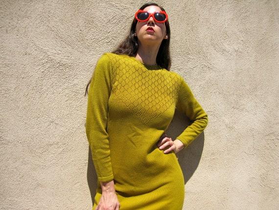1960s Knit Dress Avocado Green Long Sleeve Sweater