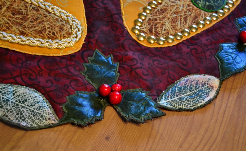 Christmas Bells Table Toppers or Pattern 23\u201d diameter Golden Bells Holiday Wall Hanging Merry Christmas USA table decor Original Pattern