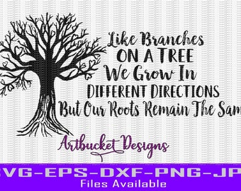 Heart Tree Branches & Roots Cutfile-SVG-EPS-Png-Jpg-DXF