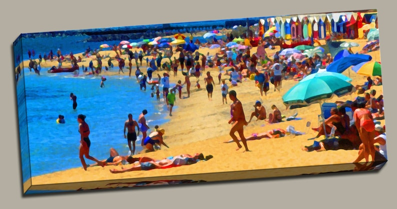 Busy Beach Gallery Wrap Canvas Photo Print Fine Wall Art Sand image 0