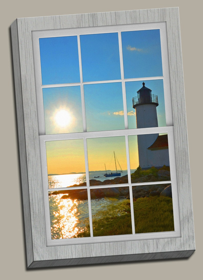 Annisquam Lighthouse Faux Window Gallery Wrap Canvas Photo image 0