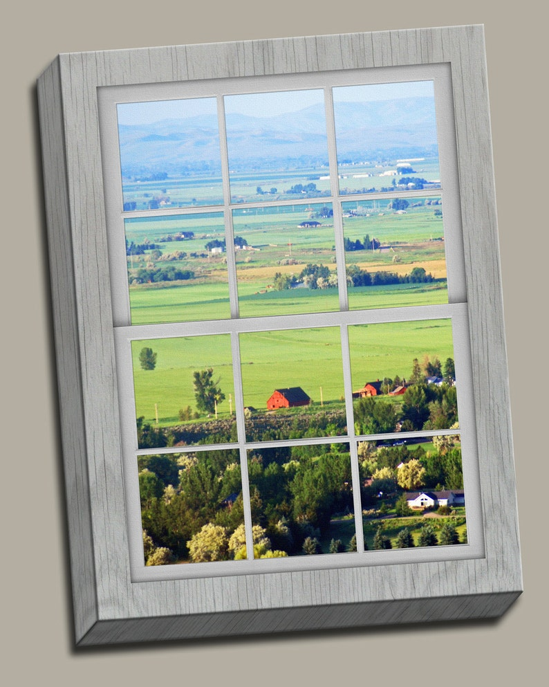 Moutaintop View Faux Window Gallery Wrap Canvas Photo Print image 0