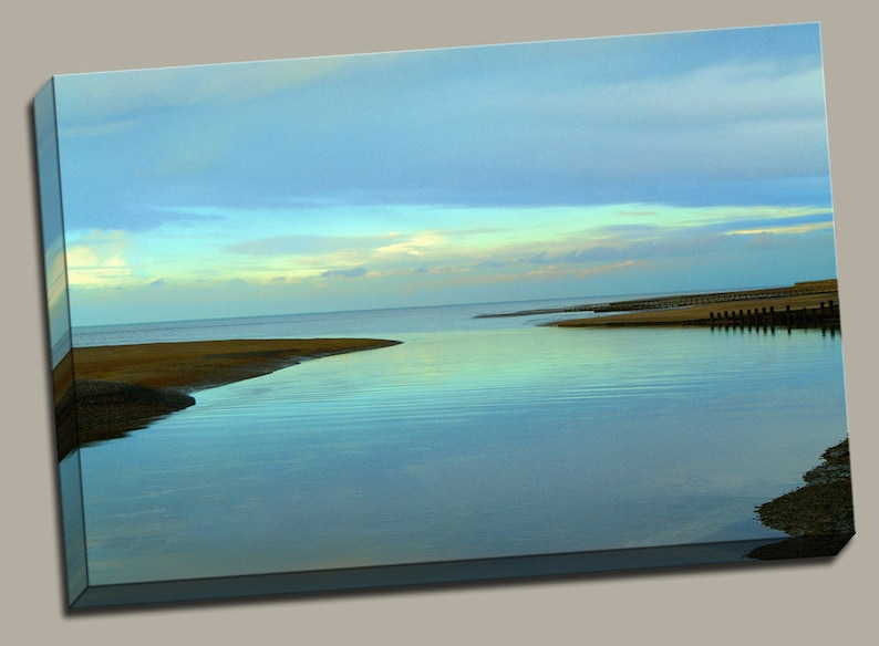 Peaceful Blue Coast Gallery Wrap Canvas Photo Print Fine Wall image 0