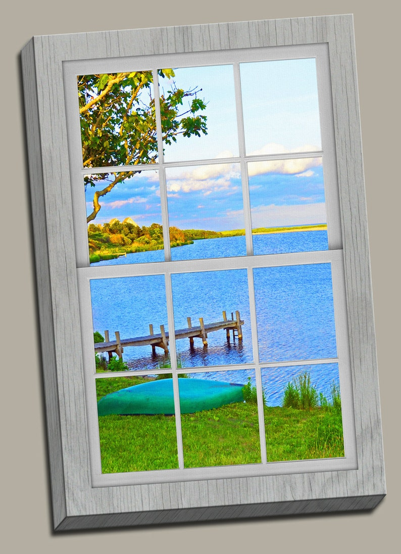 Lakeside View Faux Window Gallery Wrap Canvas Photo Print image 0