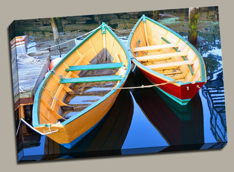 Colorful Row Boats Gallery Wrap Canvas Photo Print Fine Wall image 0
