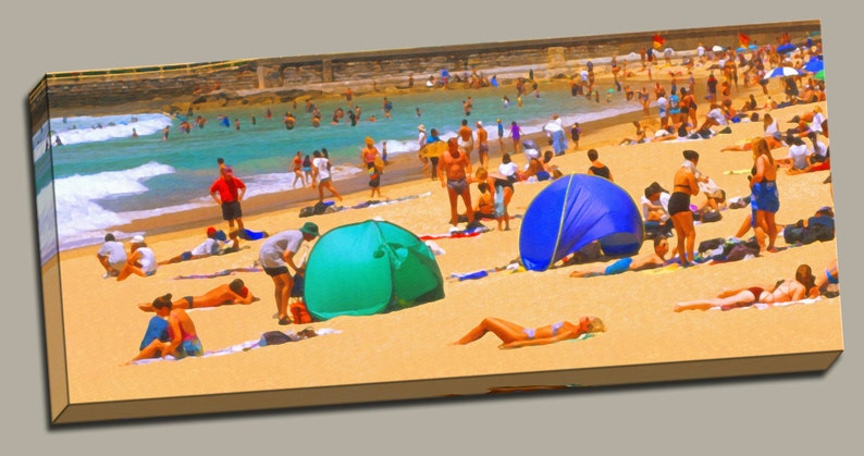 People on Beach Gallery Wrap Canvas Photo Print Fine Wall Art image 0