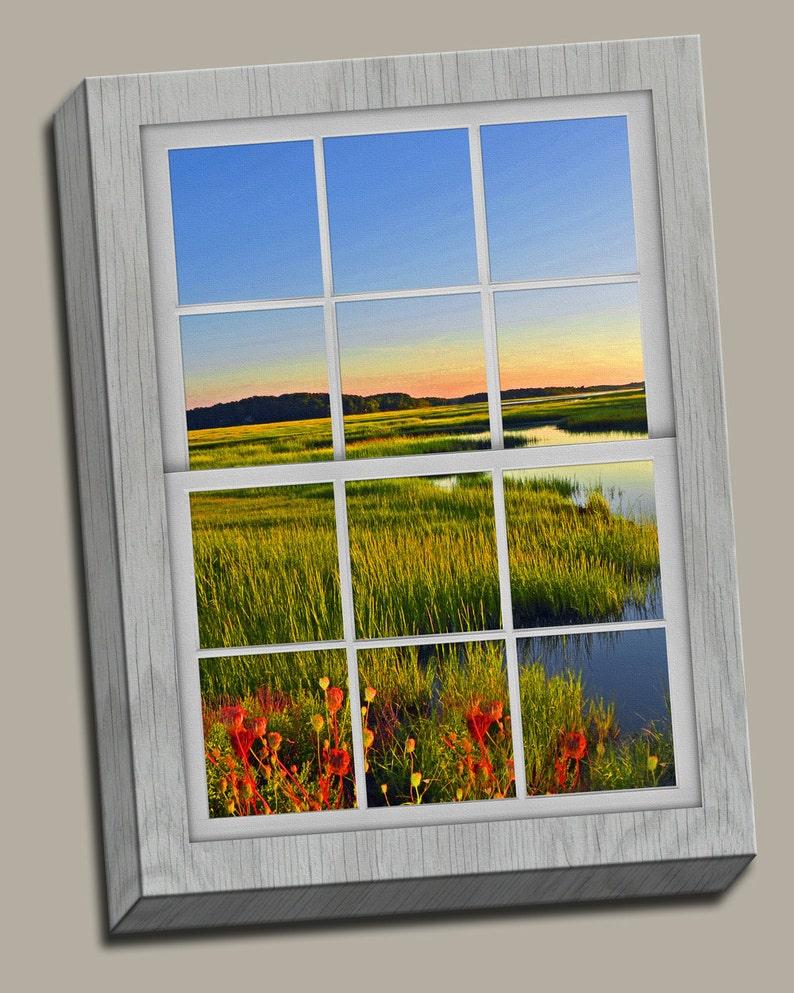 Distant Sunrise Faux Window Gallery Wrap Canvas Photo Print image 0