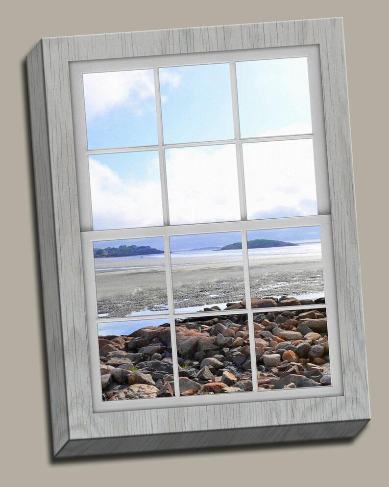 Rocky Coast Faux Window Gallery Wrap Canvas Photo Print Fine image 0