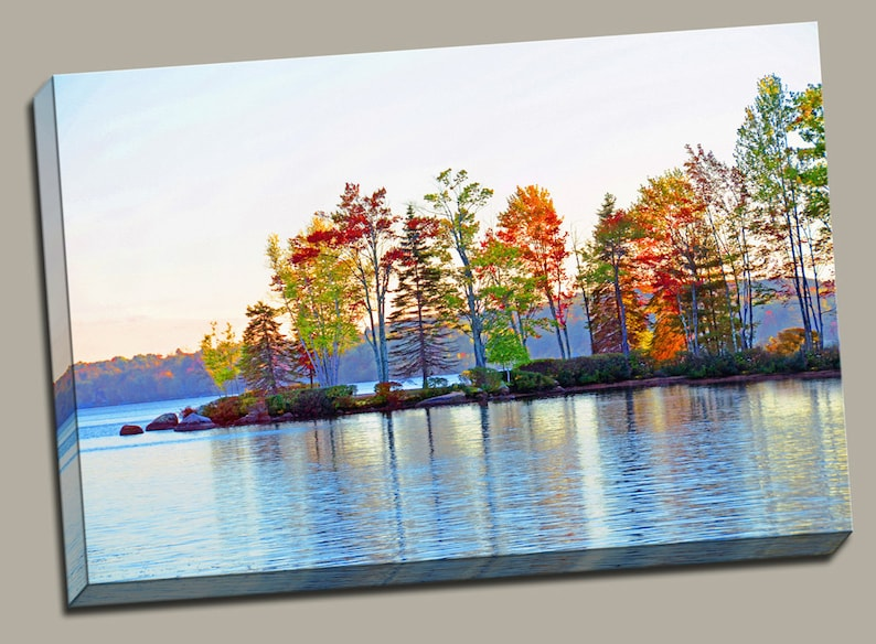 Autumn on the Lake Gallery Wrap Canvas Photo Print Fine Wall image 0