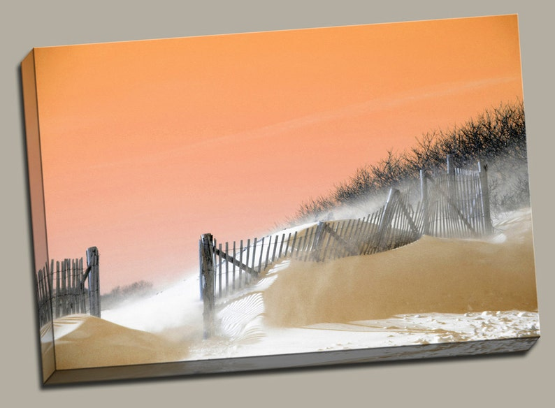 Snow Beach at Sunset Gallery Wrap Canvas Photo Print Fine Wall image 0