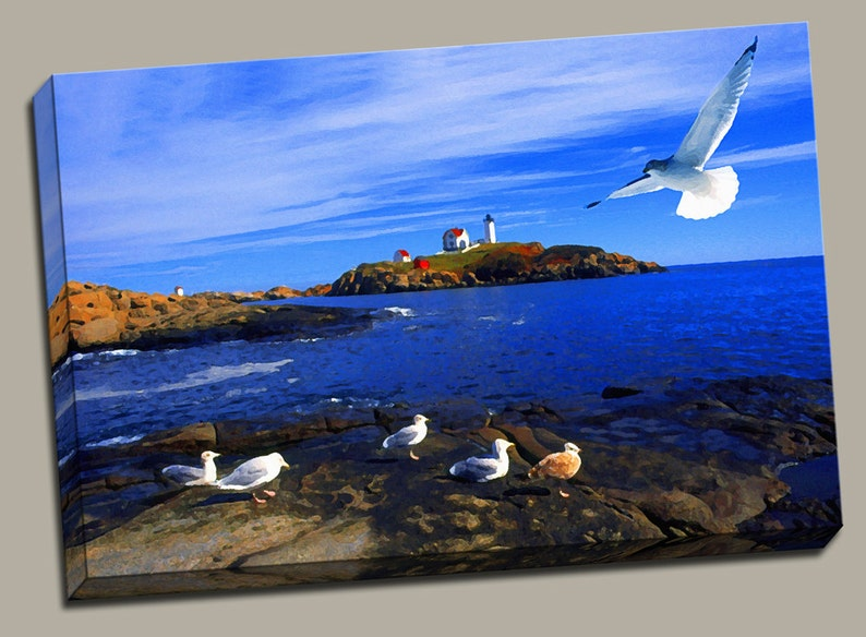 Seagull at Nubble Lighthouse Gallery Wrap Canvas Photo Print image 0