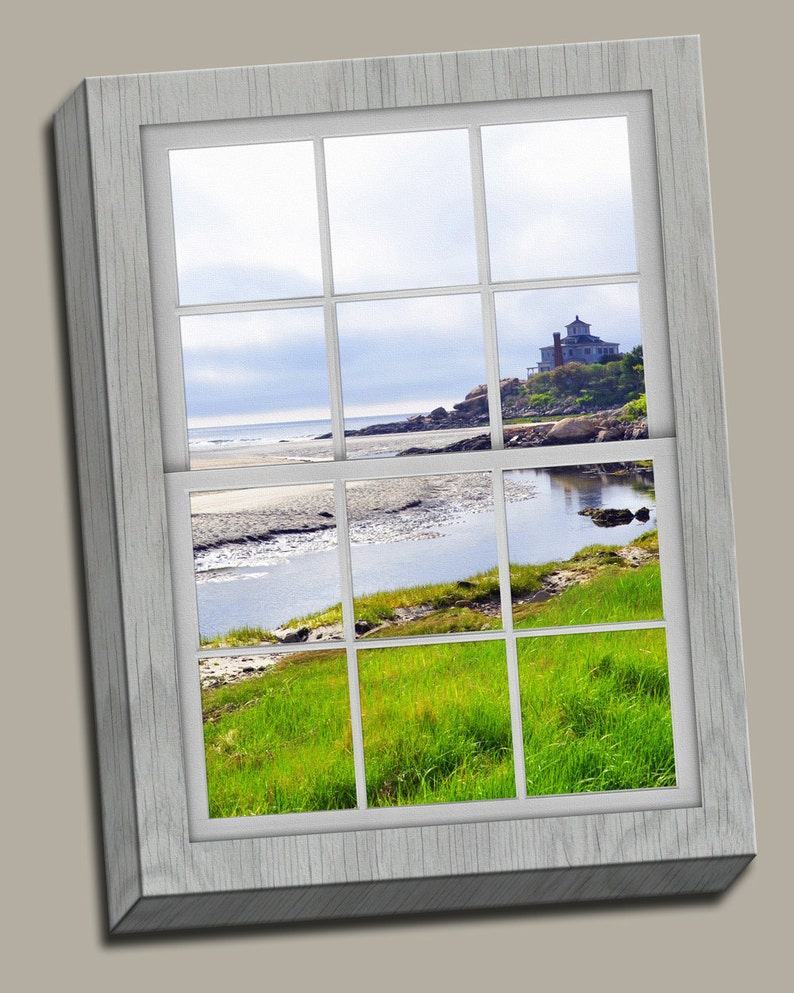 Ocean Front Property Faux Window Gallery Wrap Canvas Photo image 0