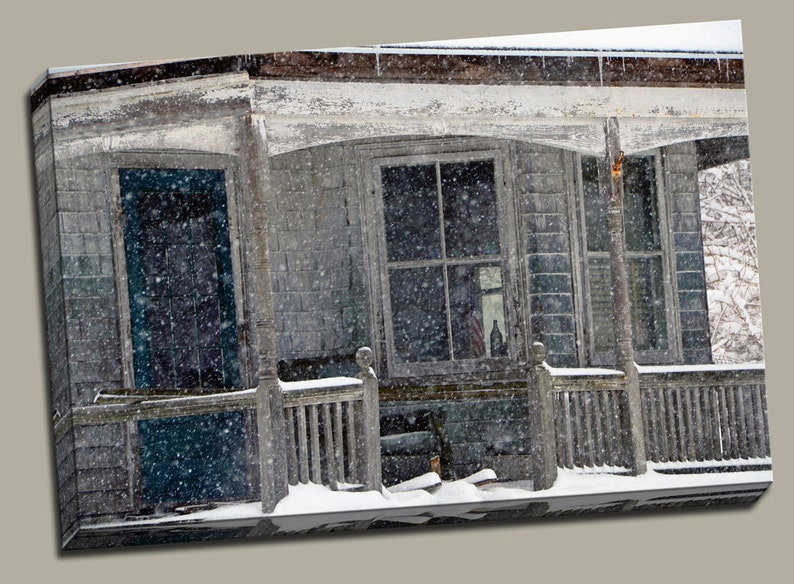 Old Porch in Snow Gallery Wrap Canvas Photo Print Fine Wall image 0