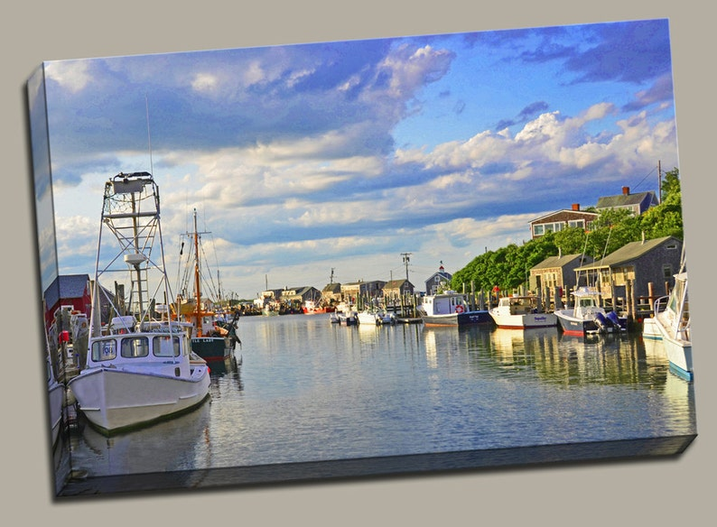 Menemsha Harbor Gallery Wrap Canvas Photo Print Fine Wall Art image 0