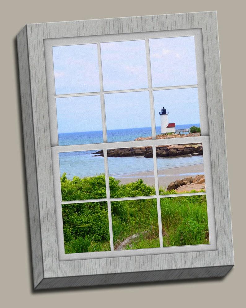 Annisquam Harbor Lighthouse Faux Window Gallery Wrap Canvas image 0