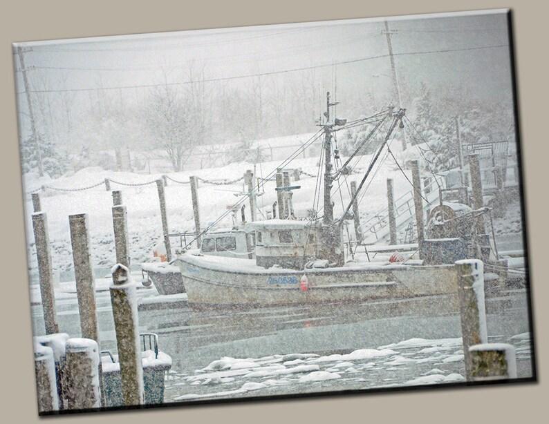 Winter Boat Gallery Wrap Canvas Photo Print Fine Wall Art image 0