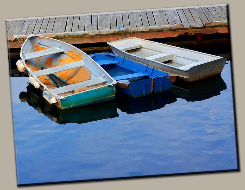 3 Row Boats in Harbor Gallery Wrap Canvas Photo Print Fine image 0