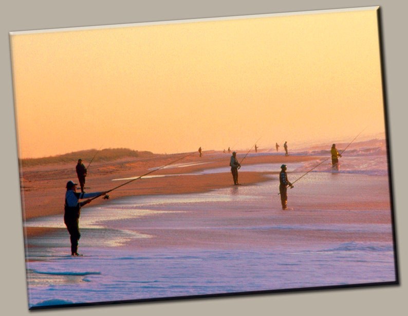 Fishermen at Sunset Gallery Wrap Canvas Photo Print Fine Wall image 0