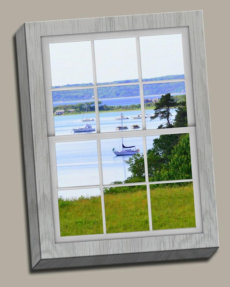 Harbor View Faux Window Gallery Wrap Canvas Photo Print Fine image 0