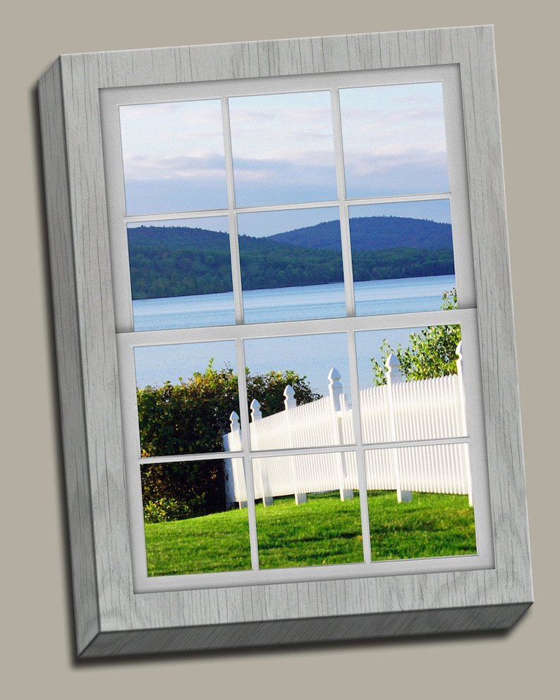 White Picket Fence Faux Window Gallery Wrap Canvas Photo image 0