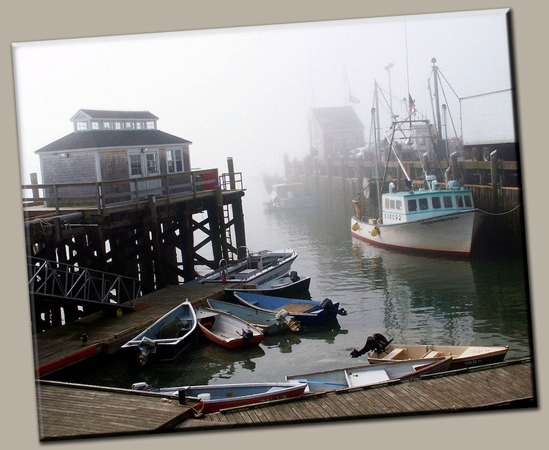 Boats in Harbor Gallery Wrap Canvas Photo Print Fine Wall Art image 0