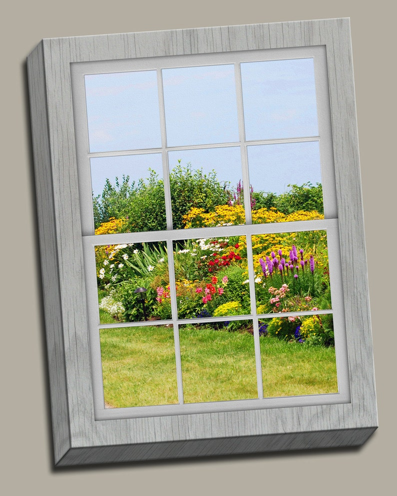 Flower Garden Faux Window Gallery Wrap Canvas Photo Print image 0