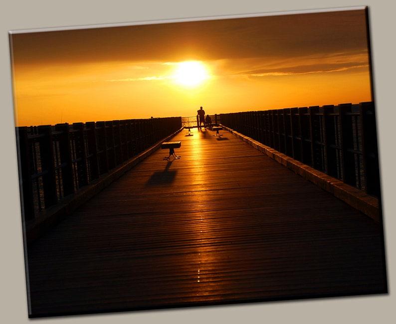 Dock Sunset Gallery Wrap Canvas Photo Print Fine Wall Art image 0