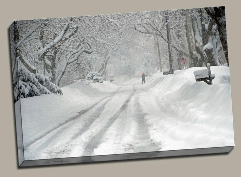 Shoveling Snow Gallery Wrap Canvas Photo Print Fine Wall Art image 0