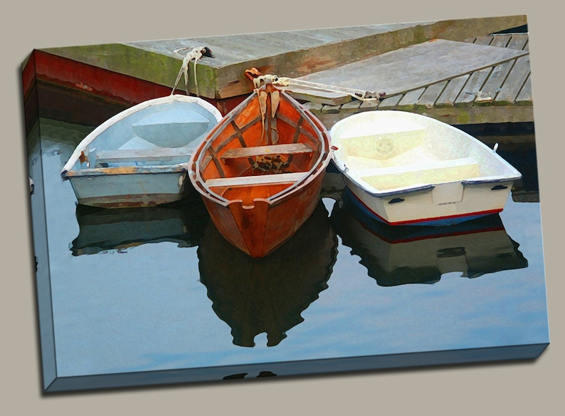 3 Rowboats at Dock Gallery Wrap Canvas Photo Print Fine Wall image 0